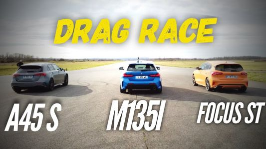 Watch The Mercedes-AMG A45S Demolish The BMW M135i and Ford Focus ST In A Drag Race