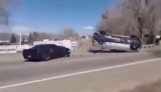 Challenger Hellcat Loses Control Leaving Cars and Coffee Overturning a Silverado