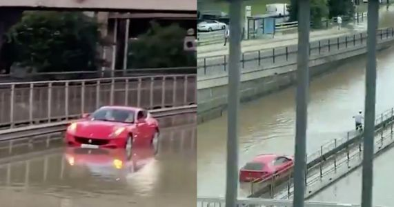 Burst Pipe Floods Major London Road, Strands Ferrari FF
