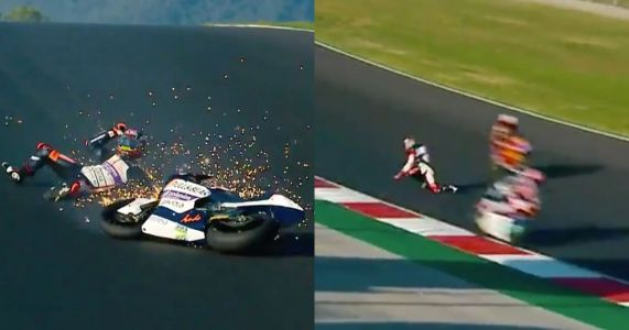 Terrifying Footage Shows Moto2 Rider Dodging Competitors After Crash