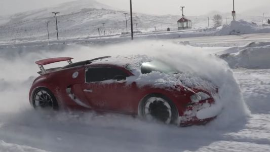 Watch Bugatti Veyron Being Used as a Snowplough