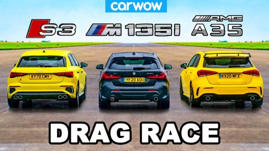 Mercedes-AMG A35 vs Audi S3 Sportback vs BMW M135i Hot Hatch Drag Race