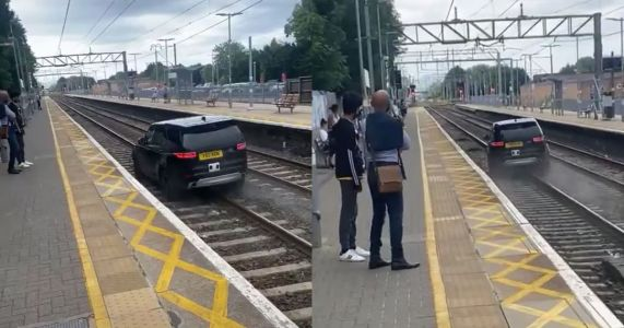 Stolen Land Rover Discovery Filmed Tearing Down A Train Track