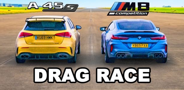 Watch The Mighty BMW M8 Competition Drag Race The Less Mighty Mercedes-AMG A45 S